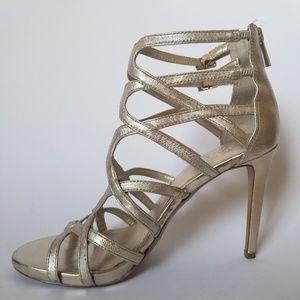 Vince Camuto Gold Strappy Peep Toe Stiletto Heel